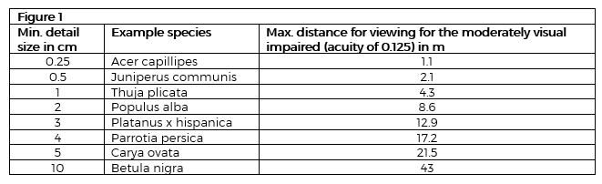 Figure 1 Maximum distance for viewing tree bark texturally